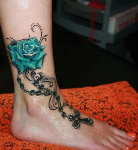 Like this idea...but different color for the rose and would like rosary to be more delicate, but still intricate