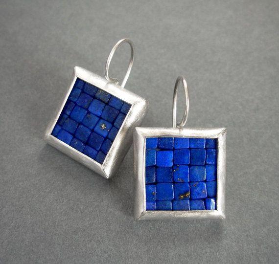 Mosaic Earrings - Large - Lapis Lazuli & Silver by Artesserae