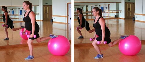 Pregnancy exercise fitball workout leg lunge