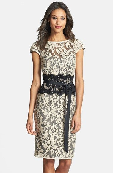 Tadashi Shoji Embroidered Lace Sheath Dress