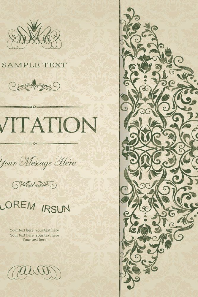 Retro Invitation Or Wedding Card With Damask Background And Elegant Floral Elements Weddinginvitation Wedding Invitations Wedding Cards Retro Invitation