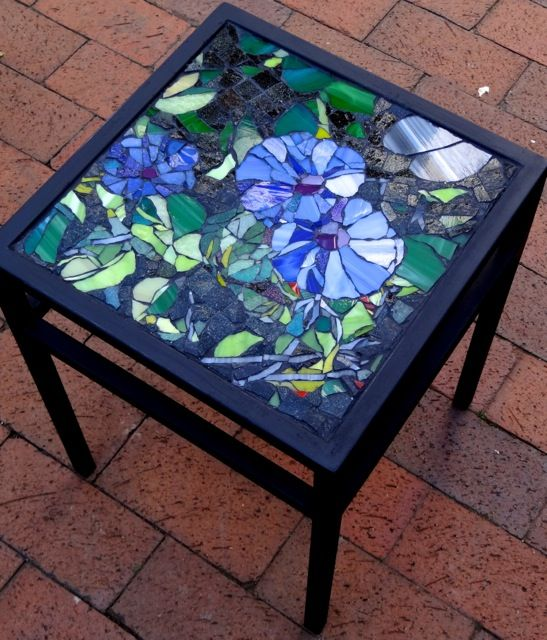 Glass Morning Glory Mosaic On Square Wrought Iron Table. Private Commission.
