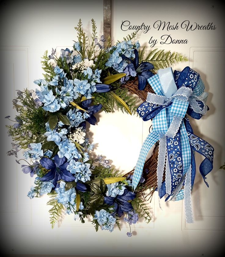 """16"""" Grapevine Wreath Blue Delphiniums and Coordinating Ribbon!  Would be beautiful to adorn your door, or above a mantle!"""