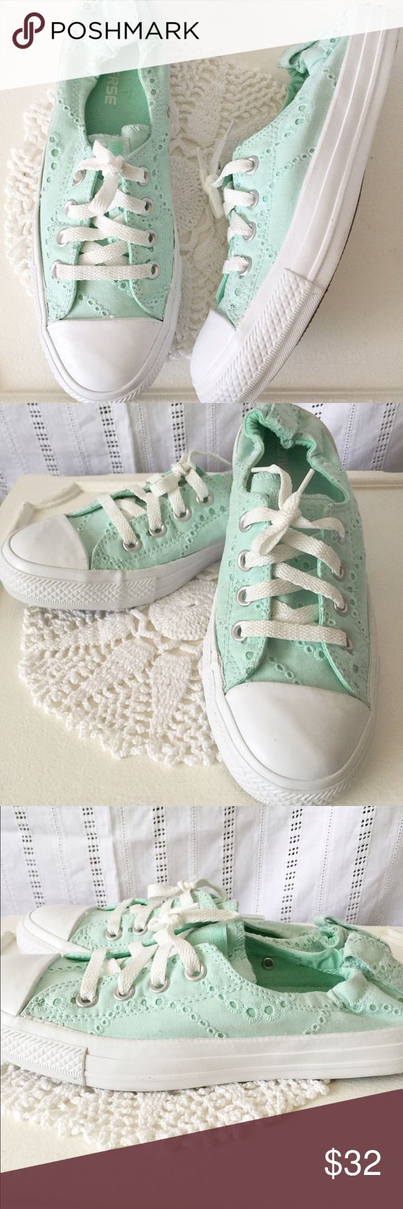 Converse Mint Green Eyelet Sneakers Chucks Size 8 Never worn mint green eyelet converse in a size 8. In excellent clean condition. Converse Shoes Athletic Shoes