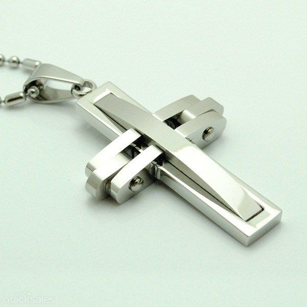 Men's Triple Layer Polished Stainless Steel Cross Pendant by affordableonlinejewellery - $28.95