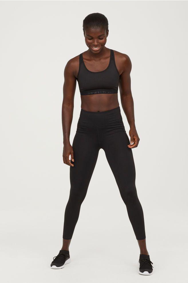 c24bdfb1a2c45 H&M Sports Tights - Black   My Style   Sport tights, Black tights ...