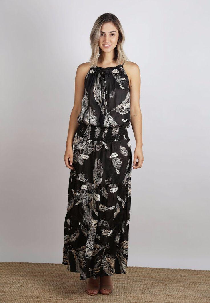 Ellis & Dewey - Feather Print Maxi Dress