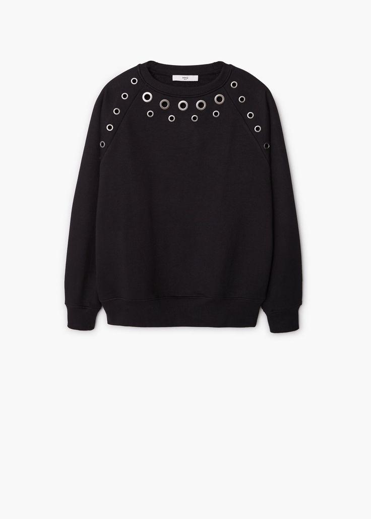 Studded sweatshirt - Cardigans and sweaters for Women | MANGO