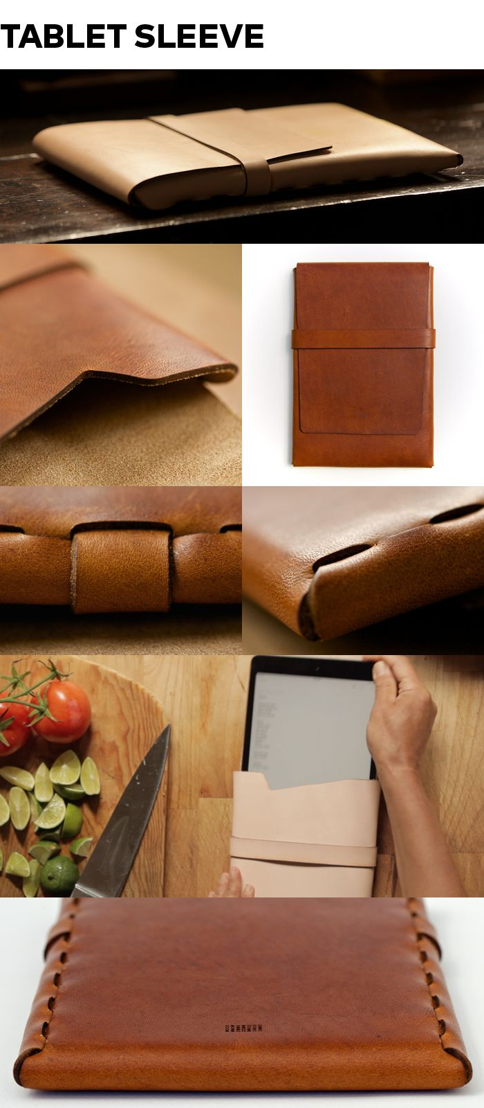 PACT Tablet Sleeve - An elegant leather sleeve for your tablet. This precision-crafted case eschews stitching and glue entirely, and instead utilizes our unique tabbed seam construction to create a form-fitted envelope out of a single piece of leather. The front flap can be conveniently rolled and placed under the tablet as an angled rest.