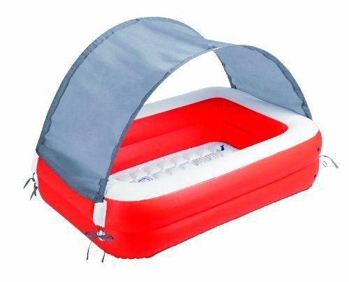 Babypool Baby Pool Planschbecken Kinderpool Kinderplanschbecken Schwimmbecken BEMA® Baby-Pool mit Sonnendach und Sonnenschutz UV 50+ Der Boden ist aufblasbar und ermöglicht Ihrem Baby dadurch ein angenehmes Sitzgefühl. Das Becken besteht aus zwei aufblasbaren Wülsten, an insgesamt vier Stellen kann das Sonnendach fixiert werden. Dieses begeistert mit Lichtschutzfaktor UV 50+ und schützt so die empfindliche Babyhaut. Ein Bodenablassventil macht das Entleeren den Pools besonders leicht. Aber…