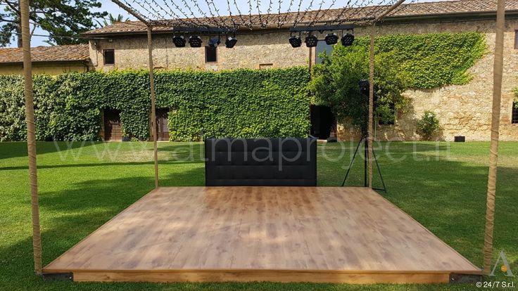 ALMA PROJECT @ Tenuta La Pescaia - Wooden Dancefloor - Fairy lights ceiling - 8 spots - Eva Console Leather Black - 203