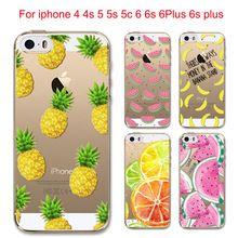 Chaude Fruits Ananas Banane Citron Silicone Souple Transparent de Couverture de Cas Pour Apple iPhone 4 4S 5 5S SE 5C 6 6 S 6 Plus 6 sPlus Coque(China (Mainland))