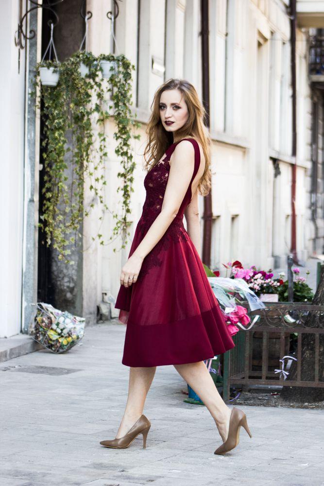 marsala dress street style fashion