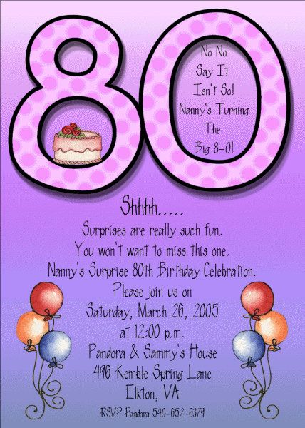 Eightieth Birthday Invitations with nice invitation layout