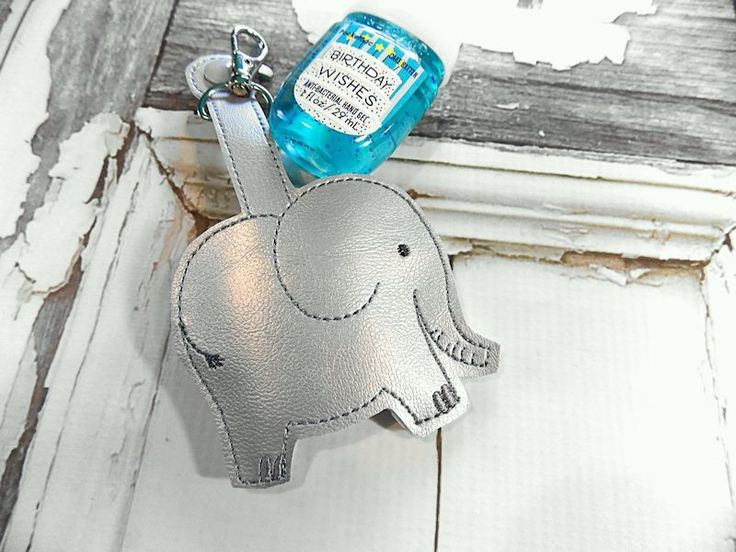 Elephant Hand Sanitizer Holder Key Fob Clip On Carrying Case
