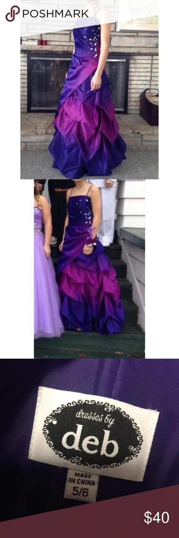 """Purple Ombré Prom Dress * Size 5/6 but could fit a size 3! Hemmed for someone 5'4"""" who is a 32A * Padded and strapless * No loose jewels or any frays * Worn once Deb Dresses Prom"""