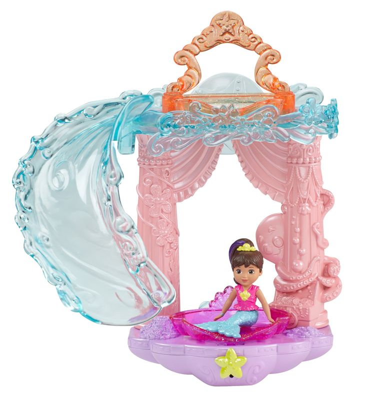 Fisher-Price Nickelodeon Dora and Friends Slide and Splash Mermaid Adventure Toy. Slide and splash into a mermaid adventure!. Take mermaid Dora for a ride down the slide!. Change the color of Dora's hair-highlight with warm or icy cold water!. Press the yellow star to see Dora dive into the tub!. Includes seashell water-scooper & suction cups to attach the playset to a tub wall.