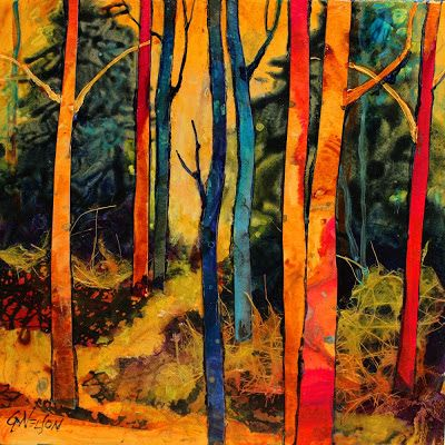 "CAROL NELSON FINE ART BLOG - ""Forest Wonders""  A mixed media collage in my tree series. This demo was created in my recent workshop in Lacomb, LA.  My students love doing these tree paintings when they get the hang of it. I keep emphasizing ""dark on light and light on dark"" - it's all about values."
