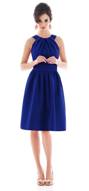Alfred Sung, Style D494, (Style No. D492 in Dupioni Color: Electric Blue $170) halter cocktail length Peau de Soie dress with pockets, Color: Royal, $168