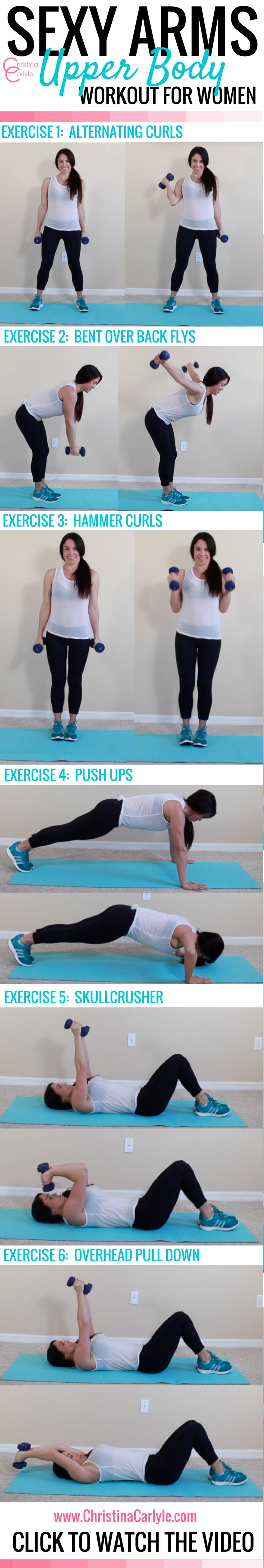 These are some of the best arm exercises for women.  They help train all of the muscles in the arms without building a lot of bulk.  #workout #fitness