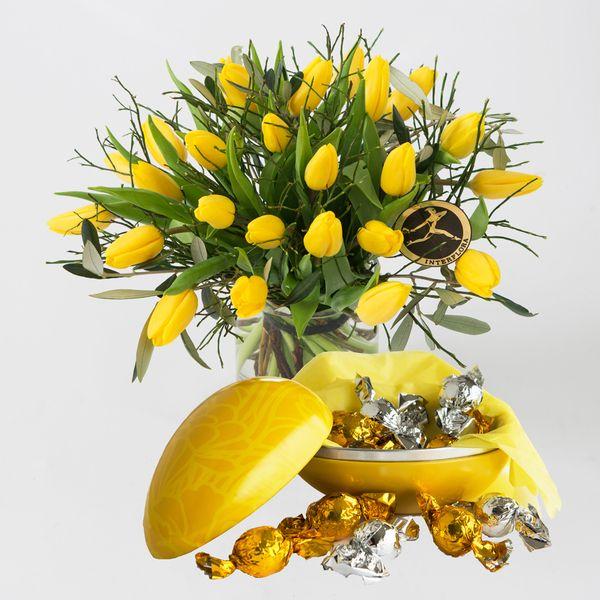 Påsketulipaner med egg fra Interflora. Om denne nettbutikken: http://nettbutikknytt.no/interflora-no/