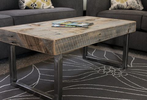 Reclaimed Wood Coffee Table Tube Steel Legs Free Shipping