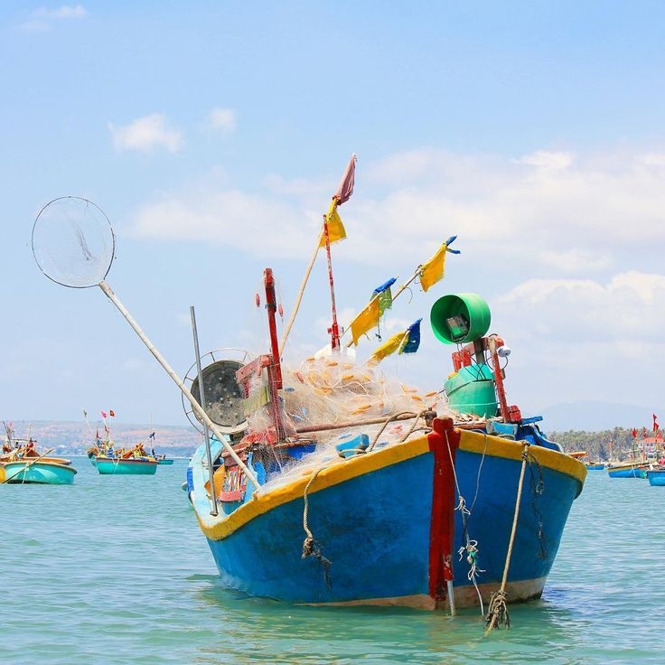 When visiting the fishing village in Mui Ne you can take a boat tour with a local to get a closer look at all the colorful fishing boats and their equipment  aren't the colors beautiful?  #littlemuinecottages #muine #vietnam #fish #boat #ocean #travel #instatravel #colorful #instagood #wanderlust #picoftheday #phanthiet #hotel