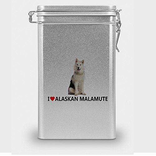 """Aus der Kategorie Futteraufbewahrung  gibt es, zum Preis von EUR 11,90  Der Klassiker unter den Hundefutter-Dosen - Hochwertige Hundefutter-Aromadose (mit Gummidichtung) aus Blech mit Hundemotiv """"Alaskan Malamute"""". Aufdruck in brillanter Druck-Qualität. Ideal als Leckerli-Dose geeignet. Durch den Aromaverschluss bleiben Hundefutter und Snacks lange frisch und trocknen nicht aus. Zudem ist die nostalgische Hundefutter-Dose mit speziellem Hunde-Motiv ein ganz besonderer Hingucker im Regal."""