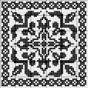 Square 01   Free chart for cross-stitch, filet crochet   Chart for pattern - Gráfico