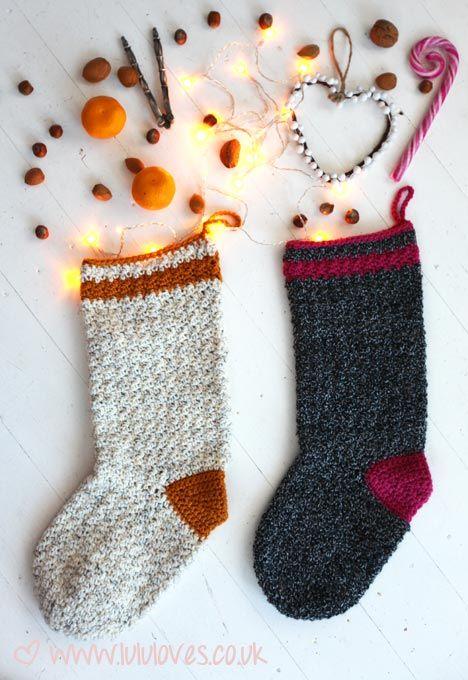 Lululoves crochet christmas stockings, free Ravelry download