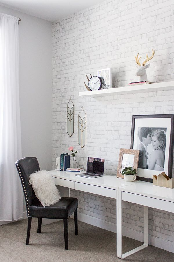 Find and enjoy ideas about White brick walls on termin(ART)ors.com. | See more ideas about White bricks, Brick painted white and White wallpaper.  The PIN we use here is from: http://www.prettylittledetails.ca/2015/12/office-reveal-with-havenly.html#_a5y_p=5061241
