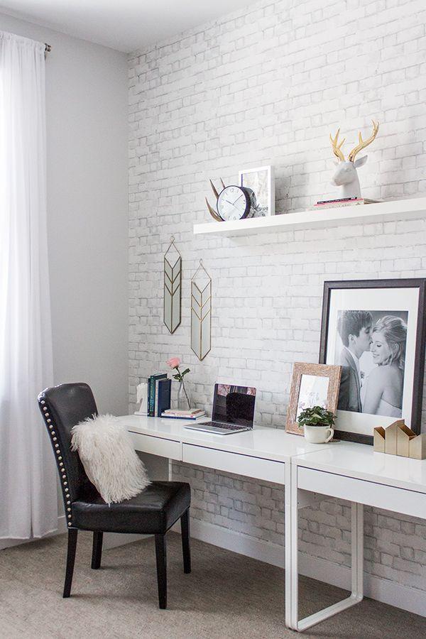 Scandinavian inspired minimalist office by Havenly interior design.