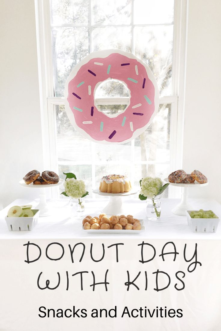 Donut party with kids. Kid's crafts, activities, and snacks. National Donut Day