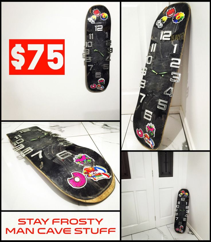 Skateboard deck clock perfect for the skaters man cave! Great diy upcycle