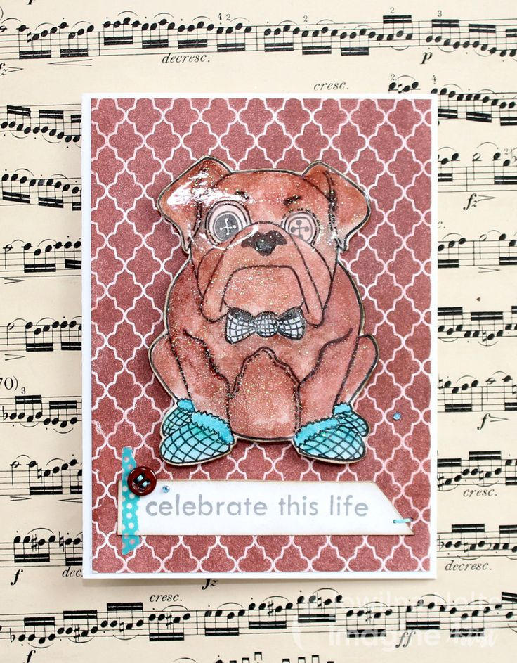 by Jowilna Nolte Who doesn't love chocolate and dogs? How about a chocolate colored dog? Well, then you are in luck because today's handmade card project has both. Imagine Crafts + Tsukineko