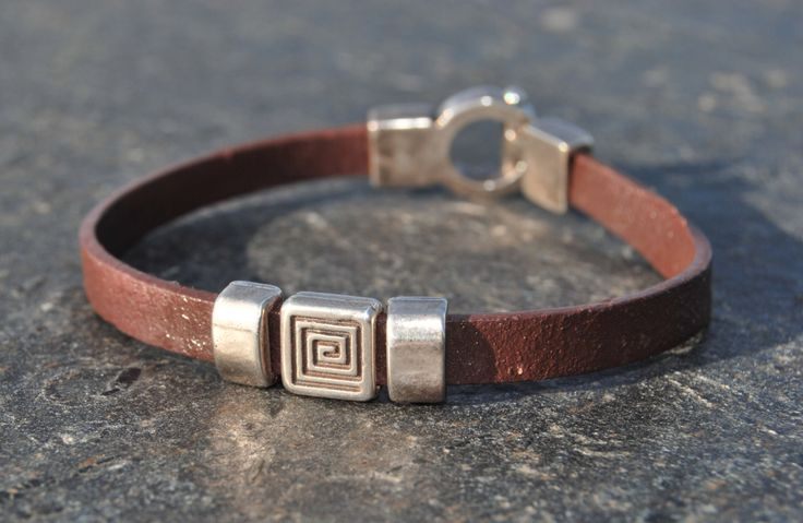 Male bracelet in brown leather and silver by NorthernlightsNO on Etsy