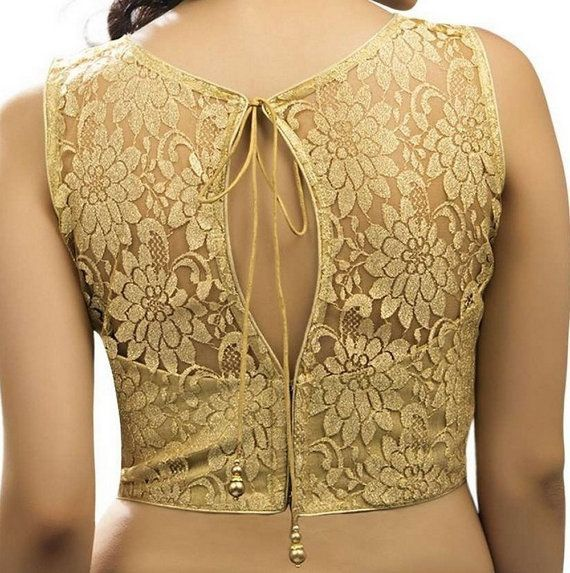 Designer Net Work Saree Blouse Shiny Net Sleeveless by pams987