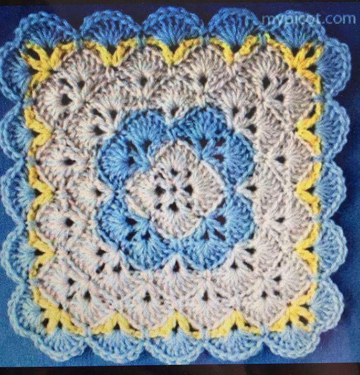 Mejores 101 imágenes de Crochet square en Pinterest | Cuadrados de ...