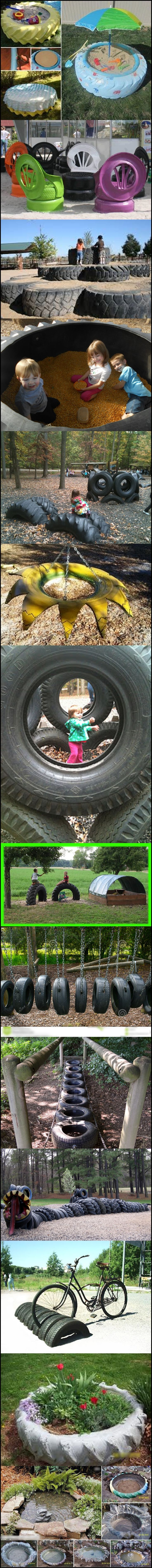 Huge truck tires made for wonderful childhood memories! Good times! 10-ways-to-reuse-old-tires#diy #recycling