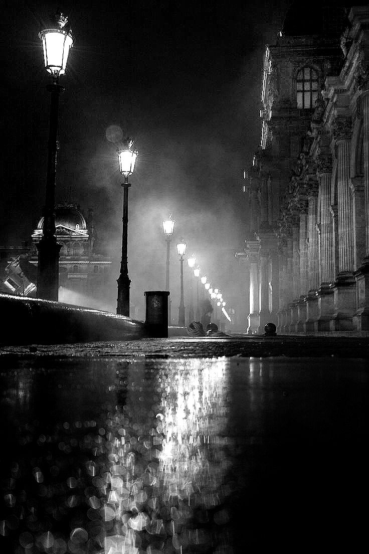 Image result for rainy suburban street at night in painting