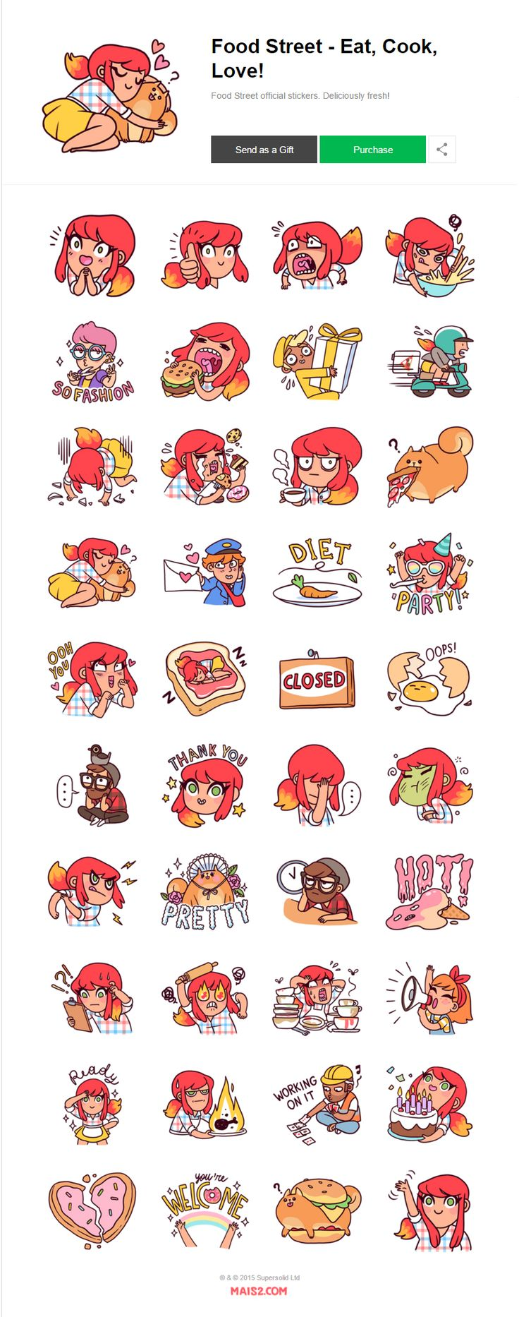 """Sticker set designed for Supersolid Ltd to celebrate the launch of their new game """"Food Street"""" now live on both IOS and Android devices.get the stickers here -- https://store.line.me/stickershop/product/1225634/enand discover mroe about the game here …"""