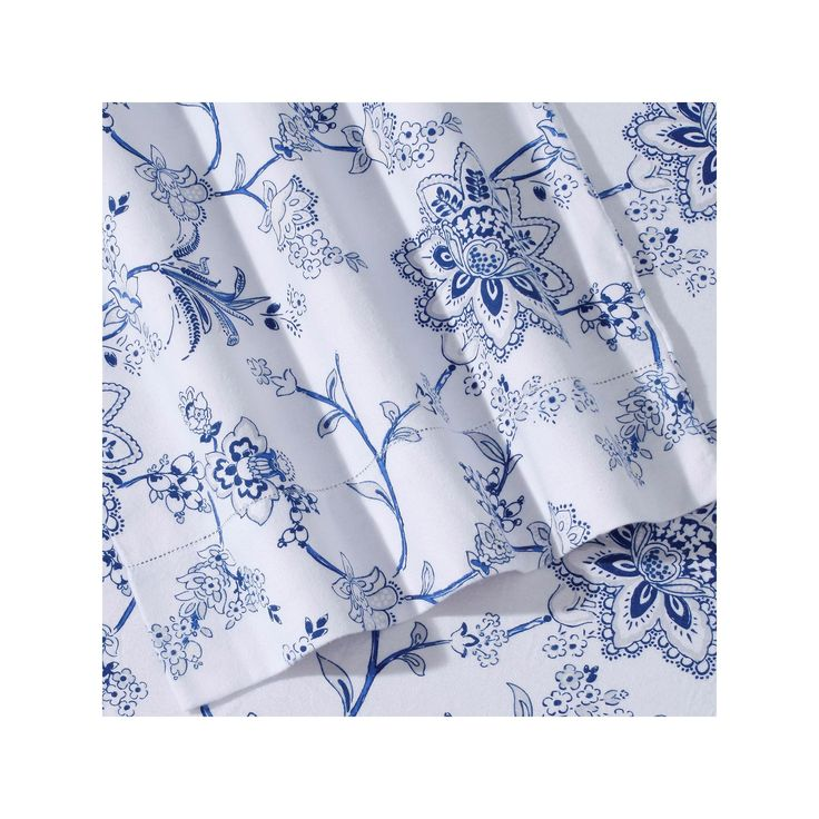 Printed Deep Pocket Flannel Sheet Set, Blue Cal King