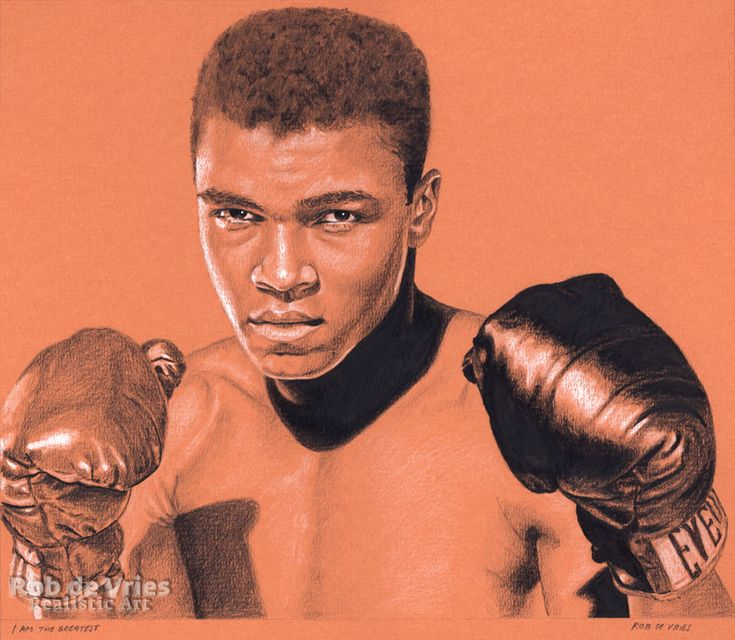 """March 2018, Muhammad Ali, """"I am the Greatest"""" Charcoal, Ink and white chalk on coloured paper. 25 x 30 cm. www.robdevries.com"""