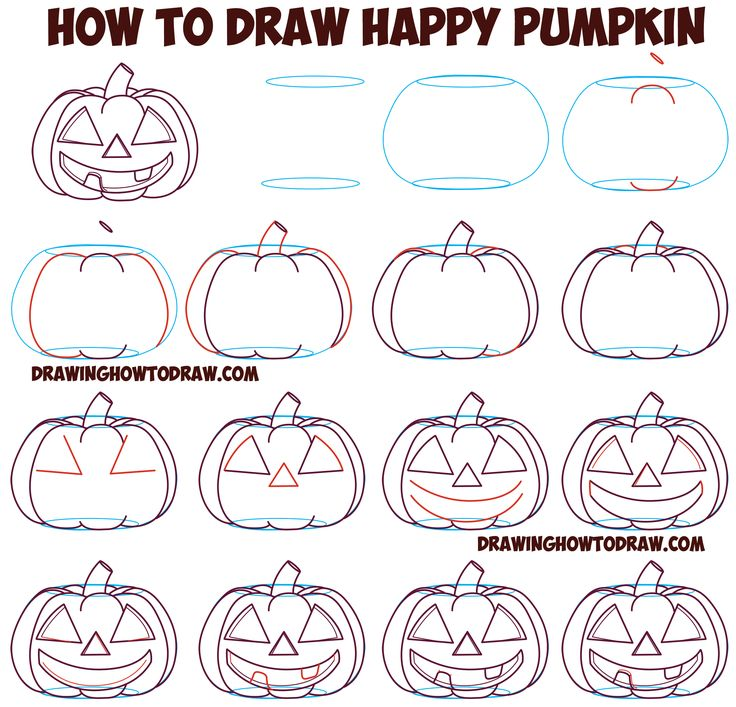 How to Draw Cartoon Pumpkin / Jack O'Lantern : Happy, Smiling with Teeth