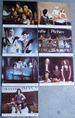 "Rocky Horror Picture Show - Photo Cards. Size: 8"" x 10"". Printed in USA (1975). Description: 8 No. Photo Cards per set. Smaller reproductions of US Lobby Card set."