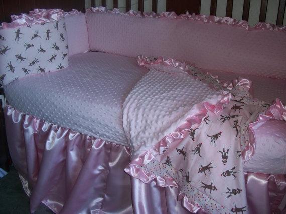 Pink Sock Monkey Crib Bedding Set by MyEllaBellaBoutique on Etsy, $250.00