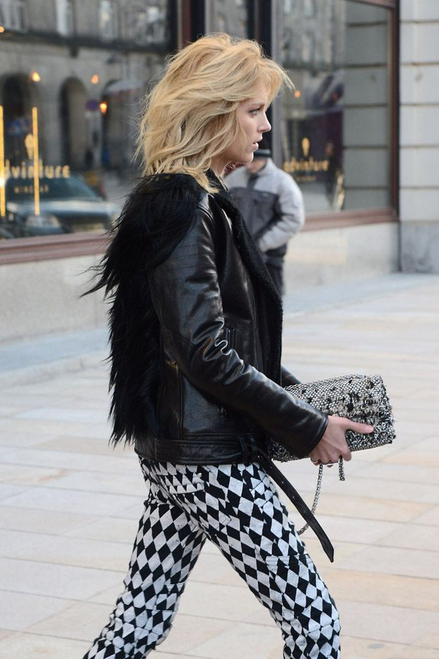 Anja Rubik 2013 model street style in Balmain printed jeans and fur 1