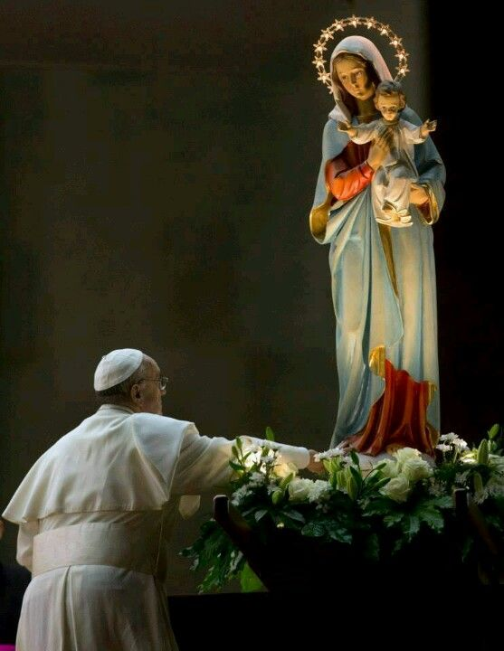 Pope Francis with Mary ~~ 1 Timothy 2:5,6 says there is only ONE mediator between God and men. It is Jesus Christ. Mary does not intercede for us, only Christ does that.
