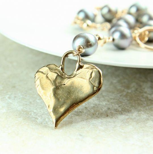 Forgylt perlesmykke - bronse