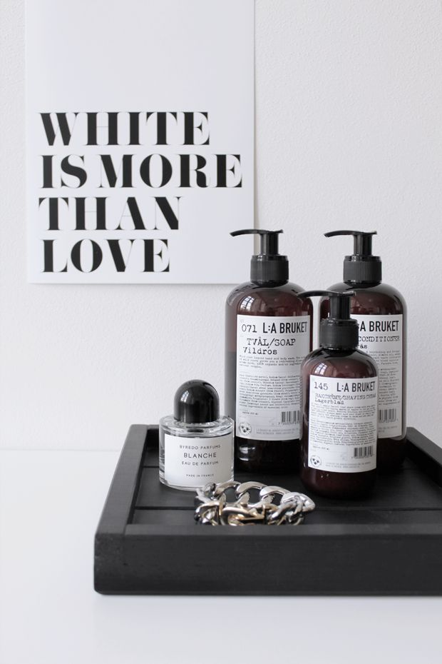 MA MAISON BLANCHE - L:A Bruket, Byredo and Mango chain on DIY black tray. Poster via http://www.mamaisonblanche.cz/